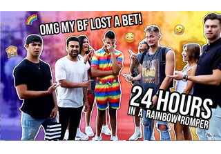 Dhar wears a rainbow romper for 24 hours vlog